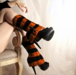 Orange and black leg warmer spats by LeshasWorkshop