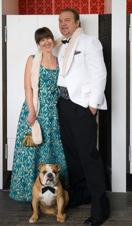 Ron, Missy and their Bulldog Look great for NY Eve