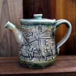 Lino-printed Teapot