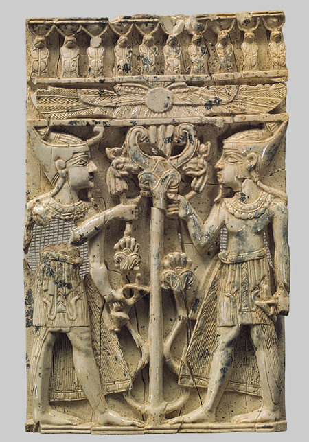 Egyptianizing figures on either side of a tree with a winged disk - 8th–7th century b.c. Neo–Assyrian Mesopotamia, Nimrud