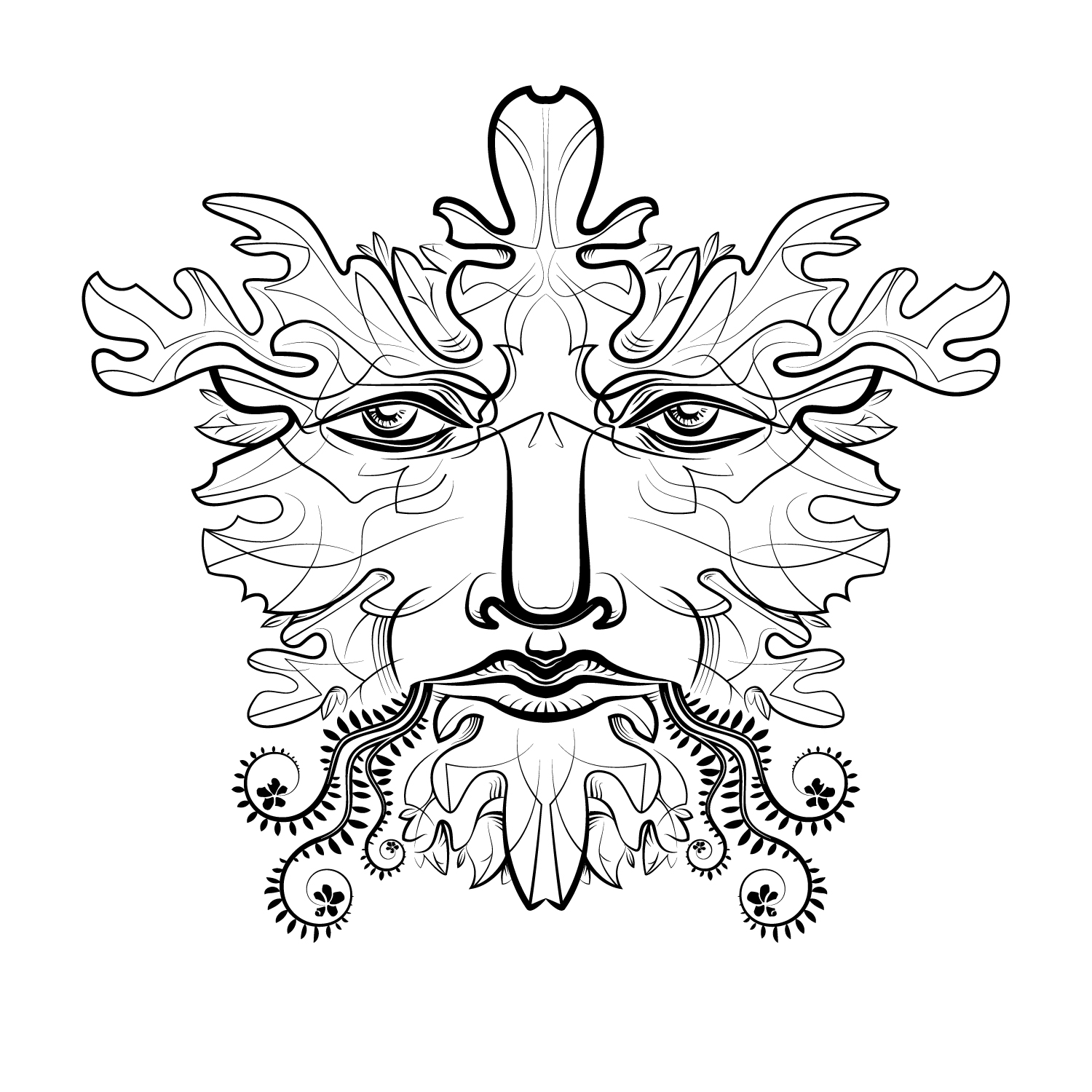 Green Flower Line Drawing : Green man line drawing