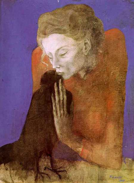 """Woman with a Crow"" by Pablo Picasso - 1904"