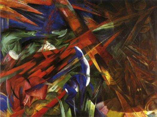 """Animal Destinies: The Trees Show Their Rings, The Animals Their Veins"" by Franz Marc"