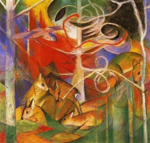 """Deer In The Forest"" b  by Franz Marc"